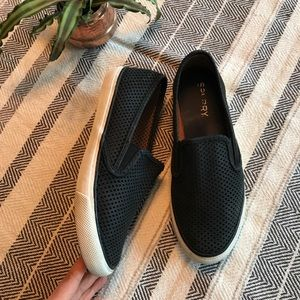Sperry Black perforated leather slip on sneakers 8